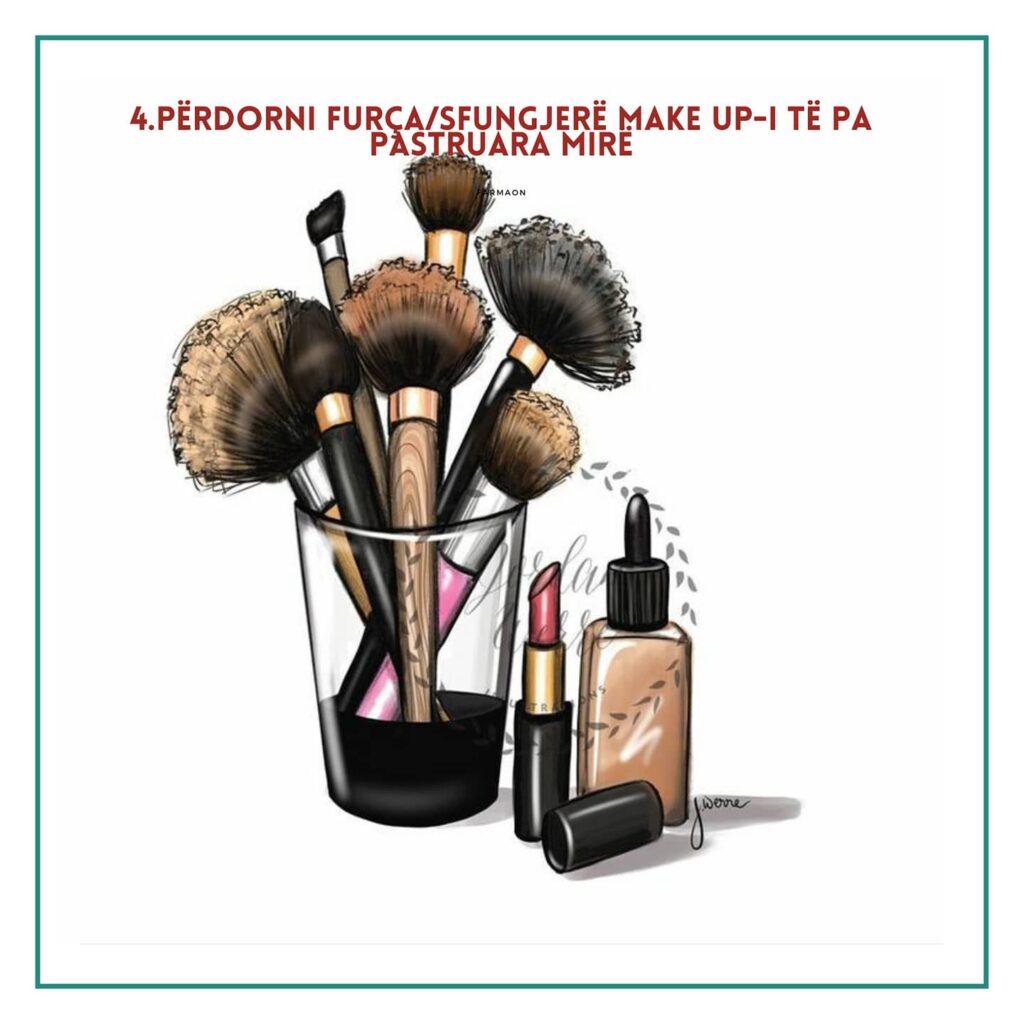 Furça të papastruara të make-up  shkaktojnë akne